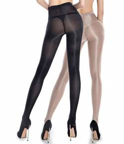 RICHTOER 2 Pairs Shaping Socks Oil Socks Shiny Silk Stockings Pantyhose Dance Tights (Nude and Black) von RICHTOER