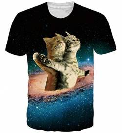 Rave on Friday Herren Damen Tshirt 3D Druck Kurze Ärmel Grafik T Shirts Männer Fun Shirt Galaxy Space Cat XXL von Rave on Friday