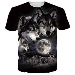 Rave on Friday Schwarz Weißer Wolf Tshirt Herren T-Shirts 3D Muster Kurzen ÄrmeLs Kurzarm Shirt Sport Fitness T-Shirt Rundhalsausschnitt Graphics Tees XL von Rave on Friday
