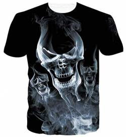 Rave on Friday Unisex 3D T-Shirt Muster Druck Sommer Beiläufige Kurzarm T-Shirts T-Stücke Tops Ugly Skull XL von Rave on Friday