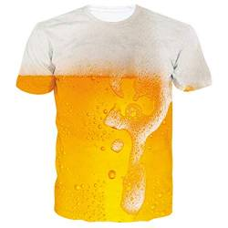 Rave on Friday Unisex T-Shirt 3D Lustiges Gedrucktes Herren Sommer Grafik Kurze Ärmel T-Shirts Tops Schaum Bier S von Rave on Friday