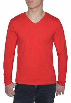 Young & Rich Herren Longsleeve 10 Farben V-Ausschnitt - Langarm Shirt einfarbig Slim fit - Uni Basic V-Neck Shirt Stretch - Rot Größe 2XL von ReRock