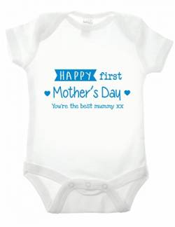 Reality Glitch Happy First Mothers Day Strampler (Weiß/Blau, 6-12 Monate) von Reality Glitch