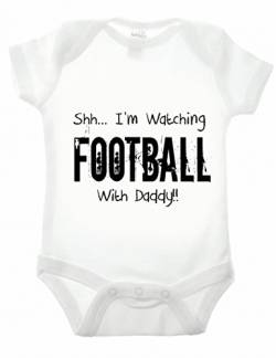 Reality Glitch Shh.I'm Watching Football with Daddy Strampler (Weiß, 12-18 Monate) von Reality Glitch
