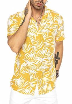 Herren Hawaii Hemd Kurzarm Shirt Design Aloha Casual Mustard S von Redbridge