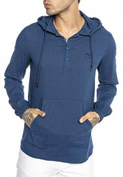 Herren Hemd Leinenhemd Shirt mit Kapuze Sweater Tunik-Hooded Indigo XL von Redbridge
