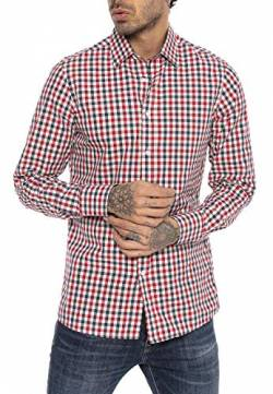 Red Bridge Herren Hemd Casual Plaid Shirts Modern Fit Langarm Kariert Dunkelblau Rot M von Redbridge