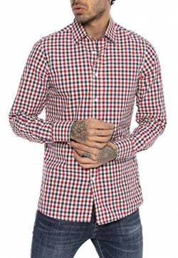 Red Bridge Herren Hemd Casual Plaid Shirts Modern Fit Langarm Kariert Dunkelblau Rot S von Redbridge