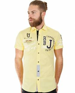 Red Bridge Herren Hemd Professionel Design Regular Fit Kurzarm Freizeithemd (4XL, Gelb - Yellow) von Redbridge