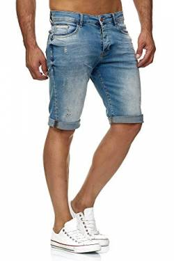 Red Bridge Herren Jeans Shorts Kurze Hose Denim Bermuda Stretch Capri Basic Blau Grau oder Weiß (W31, Lightblue) von Redbridge