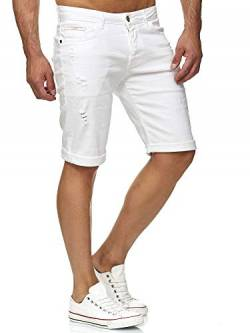 Red Bridge Herren Jeans Shorts Kurze Hose Denim Bermuda Stretch Capri Basic Blau Grau oder Weiß (W32, White) von Redbridge