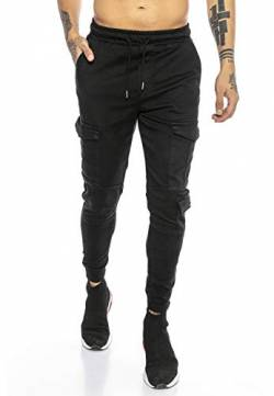 Red Bridge Herren Jogger Denim Cargo Hose Colored Jeans Jeanshose schmales Bein Schwarz W33 L34 von Redbridge