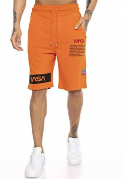 Red Bridge Herren Shorts Kurze Hose Sweat Pants Jogginghose NASA Logo USA M4854 Orange M von Redbridge