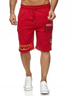 Red Bridge Herren Shorts Kurze Hose Sweat Pants Jogginghose NASA Logo USA M4854 Rot L von Redbridge