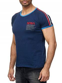 Red Bridge Herren T-Shirt NASA Logo Retro Contrast Striped Baumwolle Rundhals M1301 Dunkelblau M von Redbridge