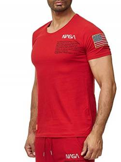 Red Bridge Herren T-Shirt NASA Logo USA Spaceshuttle Baumwolle Rundhals M1295 Rot L von Redbridge