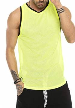 Red Bridge Herren Tank Top Mesh Fresh Air T-Shirt Ärmellos M1839 Gelb L von Redbridge