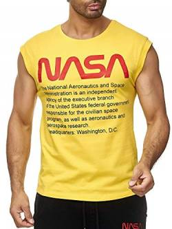 Red Bridge Herren Tank Top T-Shirt NASA Logo USA Ärmellos Baumwolle M1838 Gelb XL von Redbridge