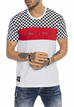 Redbridge Herren Kurzarm T-Shirt Racing Stripes Karo Casual Freizeit Shirts,Weiß,M von Redbridge