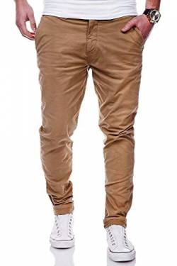 Rello & Reese Herren Basic Chino Jeans-Hose Stretch Chinohose Regular Slim-Fit C-3001 [Beige, W32/L30] von Rello & Reese