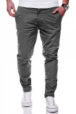 Rello & Reese Herren Basic Chino Jeans-Hose Stretch Chinohose Regular Slim-Fit C-3001 [Dunkelgrau, W33/L32] von Rello & Reese