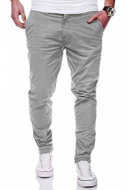 Rello & Reese Herren Basic Chino Jeans-Hose Stretch Chinohose Regular Slim-Fit C-3001 [Grau, W38/L34] von Rello & Reese