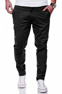 Rello & Reese Herren Basic Chino Jeans-Hose Stretch Chinohose Regular Slim-Fit C-3001 [Schwarz, W34/L32] von Rello & Reese