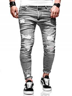 Rello & Reese Herren Jeans Destroyed Slim Fit Chino Hose Jeanshose RNJ-3667 [Grau, W30/L32] von Rello & Reese