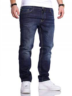 Rello & Reese Herren Jeans Straight Fit Denim Hose Regular Stetch JN-221 [Dunkelblau, W33/L32] von Rello & Reese