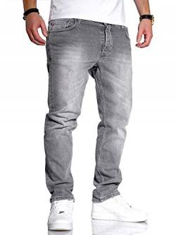 Rello & Reese Herren Jeans Straight Fit Denim Hose Regular Stetch JN-221 [Grau, W33/L34] von Rello & Reese
