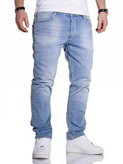 Rello & Reese Herren Jeans Straight Fit Denim Hose Regular Stetch JN-221 [Hellblau, W36/L34] von Rello & Reese