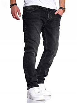 Rello & Reese Herren Jeans Straight Fit Denim Hose Regular Stetch JN-221 [Schwarz, W32/L30] von Rello & Reese