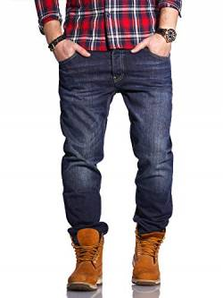 Rello & Reese Herren Jeans Straight Fit Luca Denim Hose Regular Stetch [Dunkelblau, W30/L32] von Rello & Reese