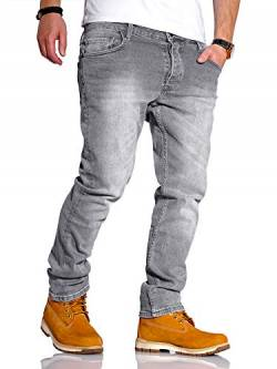 Rello & Reese Herren Jeans Straight Fit Luca Denim Hose Regular Stetch [Grau, W32/L34] von Rello & Reese