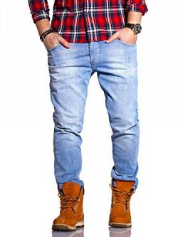 Rello & Reese Herren Jeans Straight Fit Luca Denim Hose Regular Stetch [Hellblau, W36/L34] von Rello & Reese