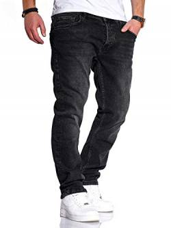 Rello & Reese Herren Jeans Straight Fit Luca Denim Hose Regular Stetch [Schwarz, W33/L30] von Rello & Reese