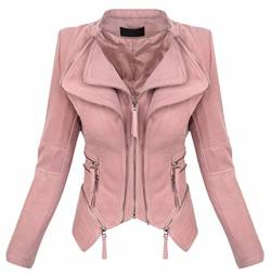 Damen Biker Jacke Sommer Übergangs Jacket D-370 [WS-935 Dunkelrosa XL] von Rock Creek Selection