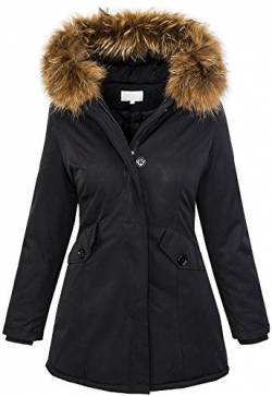 Rock Creek Selection Damen Echtfell Winter Jacke Parka Kapuze Designer Damenjacke Outdoor [D-204 - Schwarz - Gr. XL] von Rock Creek Selection
