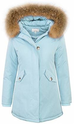 Damen Echtfell Winter Jacke Parka Kapuze Designer Damenjacke Outdoor [D-204 - SkyBlue - Gr. XS] von Rock Creek Selection