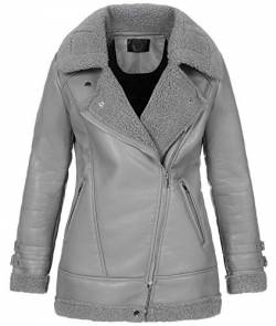 Rock Creek Selection Damen Winter Jacke Kunstleder Jacke Teddyfell-Kragen Pilotenjacke Lederjacke Kunstledermantel Warm Gefüttert D-367 Grau XL von Rock Creek Selection