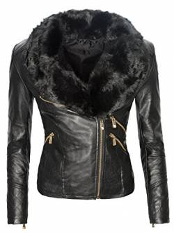 Damen Winter Mantel Übergangs Kunstleder Biker Fellkragen Schwarz warm D-119 S-XXL [D-119 - Schwarzes Fell - Gr. XL] von Rock Creek Selection