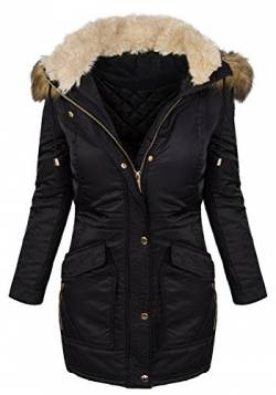 Designer Damen Winter Mantel Jacke Parka lang Winterjacke Wasserfest D-238 [MX702 Schwarz M] von Rock Creek Selection