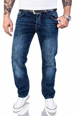 Rock Creek Herren Jeans Hose Regular Fit Jeans Herrenjeans Herrenhose Denim Stonewashed Basic Raw Straight Cut Jeans RC-2140 Dunkelblau W36 L38 von Rock Creek
