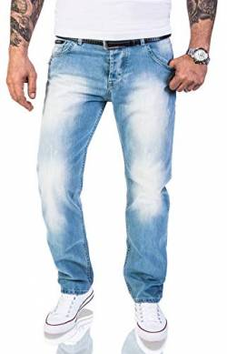 Rock Creek Herren Jeans Hose Regular Fit Jeans Herrenjeans Herrenhose Denim Stonewashed Basic Raw Straight Cut Jeans RC-2141 Hellblau W42 L34 von Rock Creek