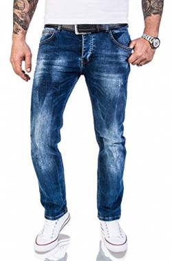 Rock Creek Herren Jeans Hose Regular Slim Stretch Jeans Herrenjeans Herrenhose Denim Stonewashed Basic Stretchhose Raw RC-2110A Dunkelblau W29 L30 von Rock Creek
