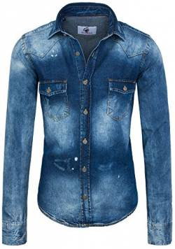 Rock Creek Herren Jeanshemd Denim RC-014 [Blau M] von Rock Creek