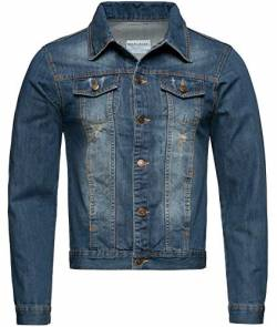 Rock Creek Herren Jeansjacke Denim Übergangsjacke Basic Stretch Jacke Herrenjacke Stonewashed Jeans Freizeitjacke Kentkragen Blau RC-2210 L von Rock Creek