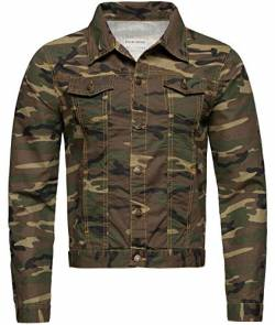 Rock Creek Herren Jeansjacke Denim Übergangsjacke Basic Stretch Jacke Herrenjacke Stonewashed Jeans Freizeitjacke Kentkragen Camouflage RC-2213 S von Rock Creek