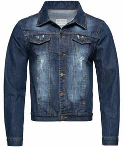 Rock Creek Herren Jeansjacke Denim Übergangsjacke Basic Stretch Jacke Herrenjacke Stonewashed Jeans Freizeitjacke Kentkragen Dunkelblau RC-2161 S von Rock Creek