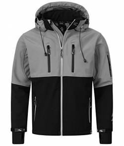 Rock Creek Herren Softshell Jacke Outdoor Jacke Windbreaker Übergangsjacke Anorak Kapuze Regenjacke Winterjacke Herrenjacke Jacket H-222 Grau M von Rock Creek